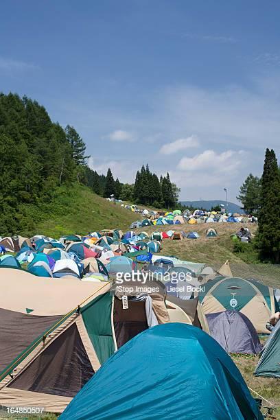 Line of tents at Fuji Rock Festival in Naeba, Japan
