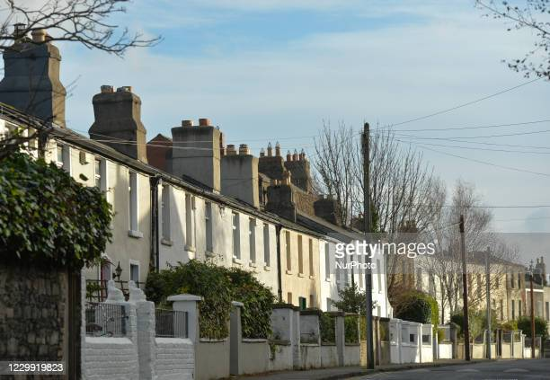 Line of typical houses in Ranelagh, area of Dublin. On Wednesday, December 2 in Dublin, Ireland.