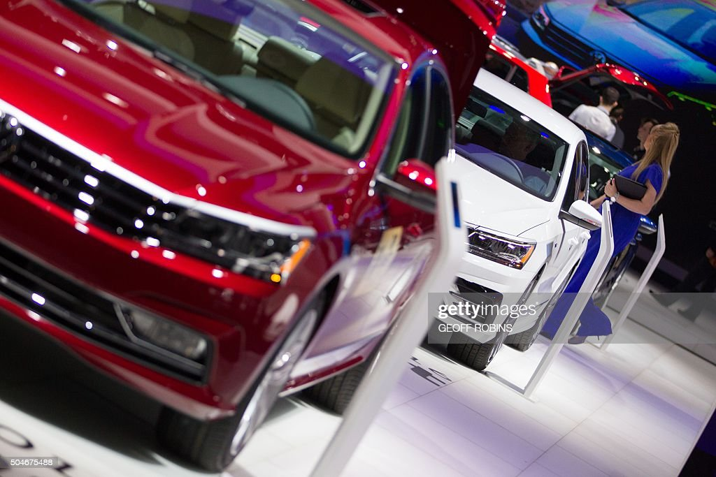 A line of Volkswagen Passat's are displayed at the Volkswagen booth at the 2016 North American International Auto Show in Detroit, Michigan, January 12, 2016.