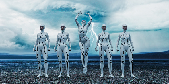 Line of white female cyborgs with centre one levitating and lightning storm in background - gettyimageskorea