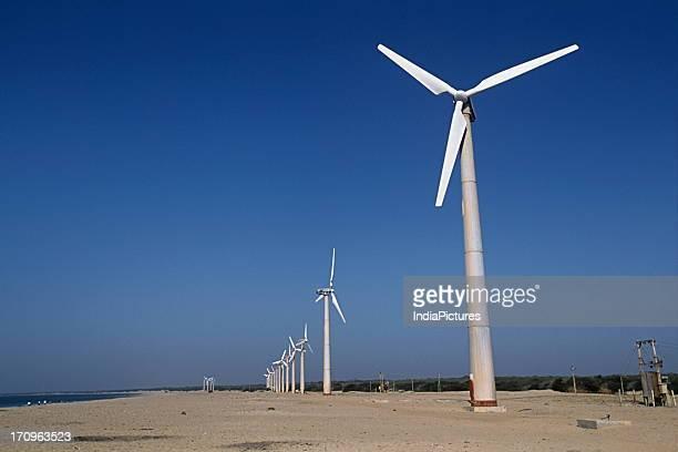 A line of Wind turbines at Kutch Gujarat India