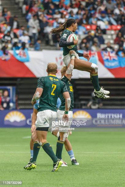Line out action during Game South Africa 7s vs Argentina 7s in Cup QF matchup at the Canada Sevens held on March 10 at BC Place Stadium in Vancouver...