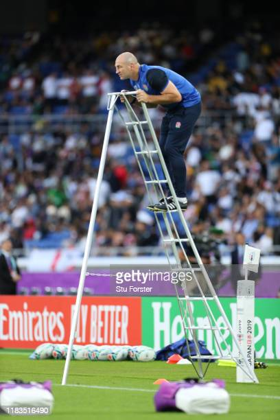 Line out coach Steve Borthwick on a ladder in the warm up prior to the the Rugby World Cup 2019 SemiFinal match between England and New Zealand at...