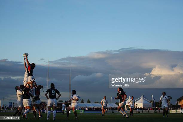 Line out is contested during the Women's Rugby World Cup 2010 Pool B Match between England and USA at Surrey Sports Park on August 28, 2010 in...