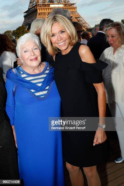 Line Renaud and Brigitte Macron attend Line Renaud's 90th Anniversary on July 2 2018 in Paris France