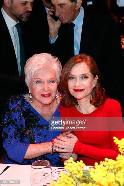 Line Renaud and Isabelle Huppert attend the Sidaction Gala Dinner 2017 Haute Couture Spring Summer 2017 show as part of Paris Fashion Week on January...
