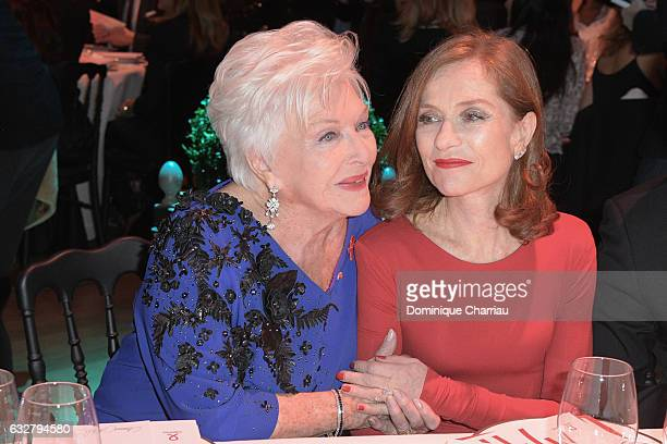 Line Renaud and Isabelle Huppert attends the Sidaction Gala Dinner 2017 as part of Paris Fashion Week on January 26 2017 in Paris France