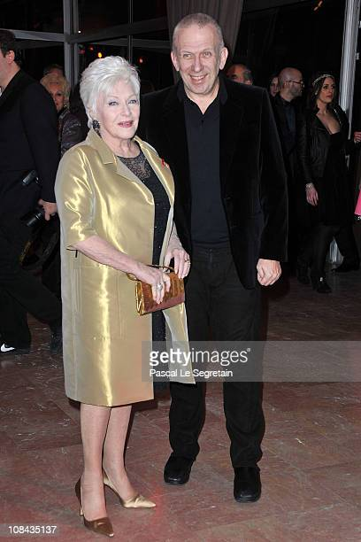 Line Renaud and Jean Paul Gaultier arrive for the Sidaction gala dinner held at the Pavillon d'Armenonville on January 27 2011 in Paris France