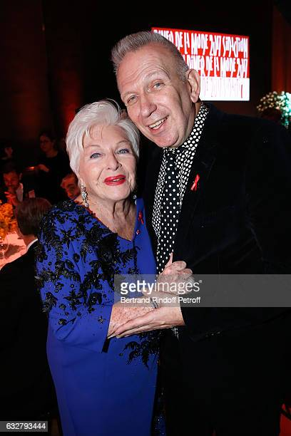 Line Renaud and JeanPaul Gaultier attend the Sidaction Gala Dinner 2017 Haute Couture Spring Summer 2017 show as part of Paris Fashion Week on...