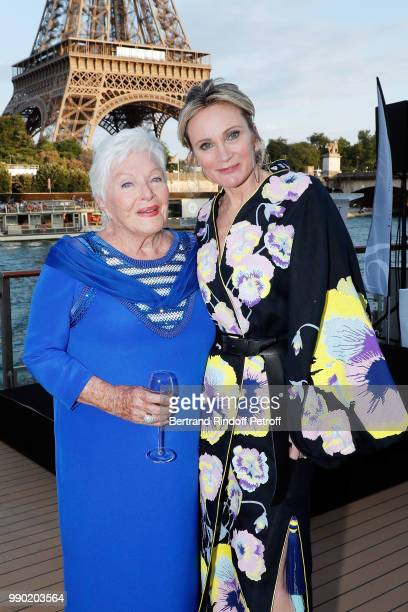 Line Renaud and Patricia Kaas attend Line Renaud's 90th Anniversary on July 2 2018 in Paris France