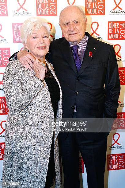 Line Renaud and Pierre Berge attend the Sidaction Gala Dinner 2014 at Pavillon d'Armenonville on January 23 2014 in Paris France