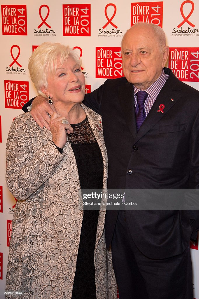 Line Renaud and Pierre Berge attend the Sidaction Gala Dinner at Pavillon d'Armenonville, in Paris.
