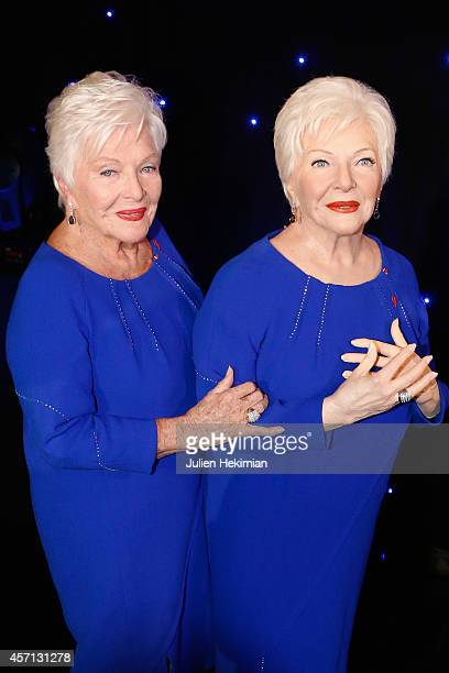 Line Renaud is pictured with her Wax statue at Musee Grevin on October 12 2014 in Paris France