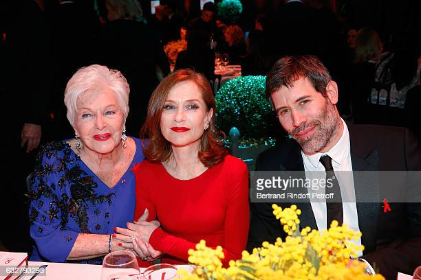 Line Renaud Isabelle Huppert and Jalil Lespert attend the Sidaction Gala Dinner 2017 Haute Couture Spring Summer 2017 show as part of Paris Fashion...