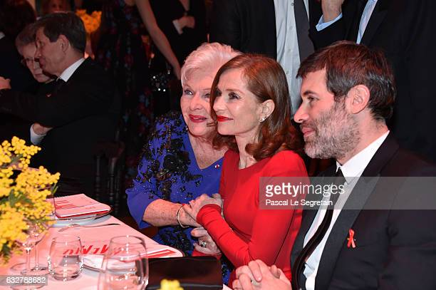 Line RenaudIsabelle Huppert and Jalil Lespert attend the Sidaction Gala Dinner 2017 Haute Couture Spring Summer 2017 show as part of Paris Fashion...