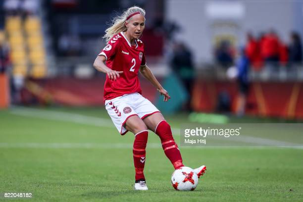 Line Roddik of Denmark controls the ball during the Group A match between Norway and Denmark during the UEFA Women's Euro 2017 at Stadion De...