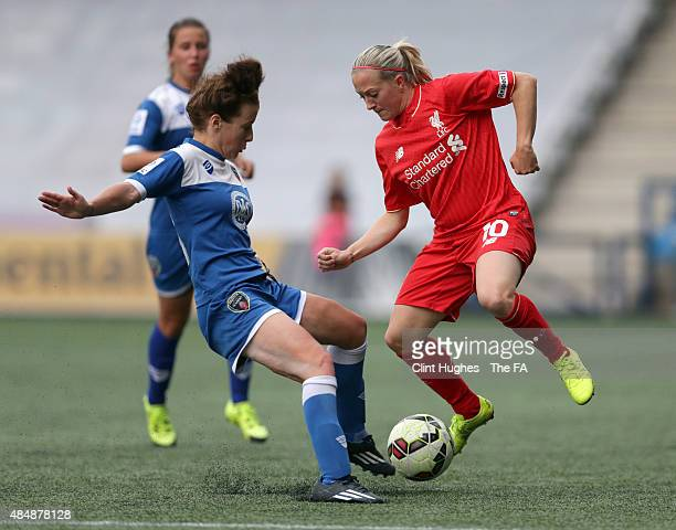 Line Smorsgard of Liverpool Ladies FC is tackled by Angharad James of Bristol Academy Women FC during the FA WSL 1 match between Liverpool Ladies FC...