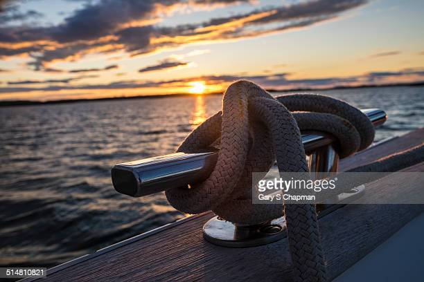 Line (rope) tied off to a cleat on a sailboat