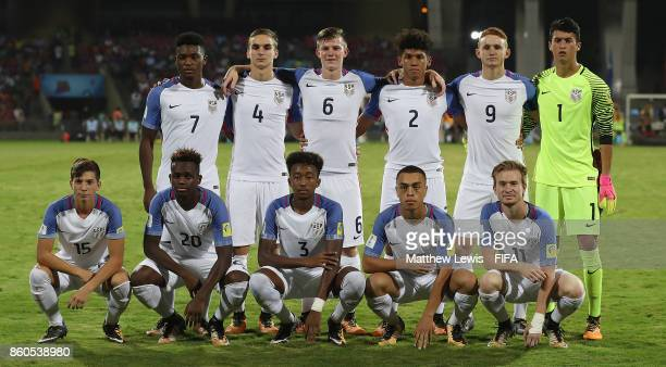 USA line up against Colombia ahead of the FIFA U17 World Cup India 2017 group B match between USA and Colombia at Dr DY Patil Cricket Stadium on...