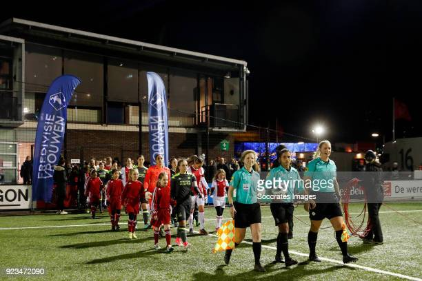 line up Ajax women and PSV women during the Dutch Eredivisie Women match between Ajax v PSV at the De Toekomst on February 23 2018 in Amsterdam...