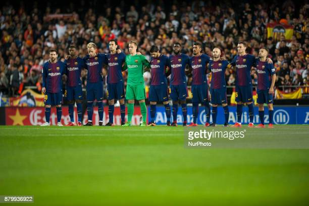Line up FC Barcelona during the match between Valencia CF vs FC Barcelona week 13 of La Liga at Mestalla Stadium Valencia SPAIN on 26th November 2017