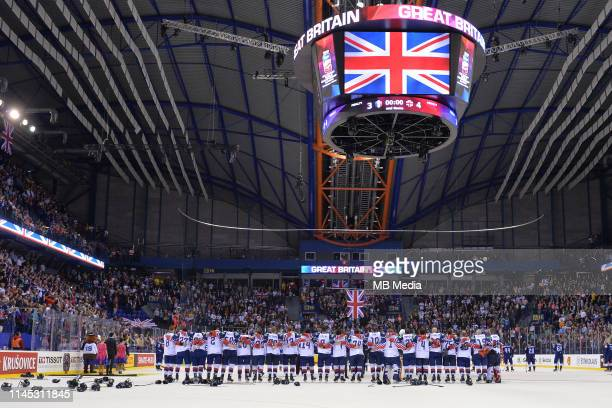 GB line up for the national anthem during the 2019 IIHF Ice Hockey World Championship Slovakia group A game between France and Great Britain at Steel...
