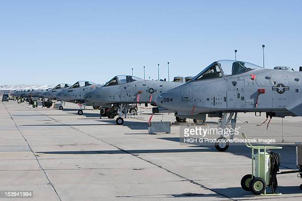 A line up of A-10 Thunderbolt aircraft on the ramp at the 190th Fighter Squadron in Boise, Idaho.