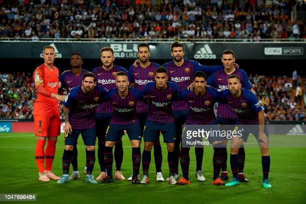 Line up of Barcelona ter Stegen Nelson Semedo Ivan Rakitic Sergio Busquets Gerard Pique Thomas Vermaelen Lionel Messi Arthur Melo Coutinho Luis...