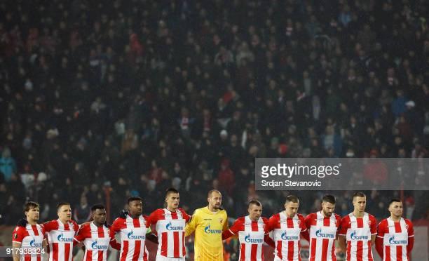 Line up of Crvena Zvezda prior to the UEFA Europa League Round of 32 match between Crvena Zvezda Belgrade and CSKA Moscow at the Rajko Mitic Stadium...