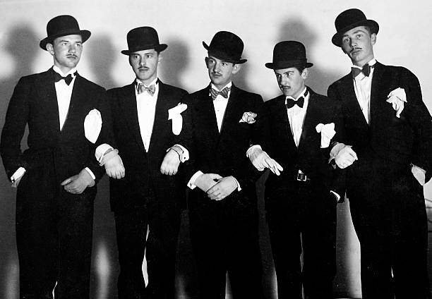 Line Up Of Formally Dressed Men In Europe Ca 1936 Pictures