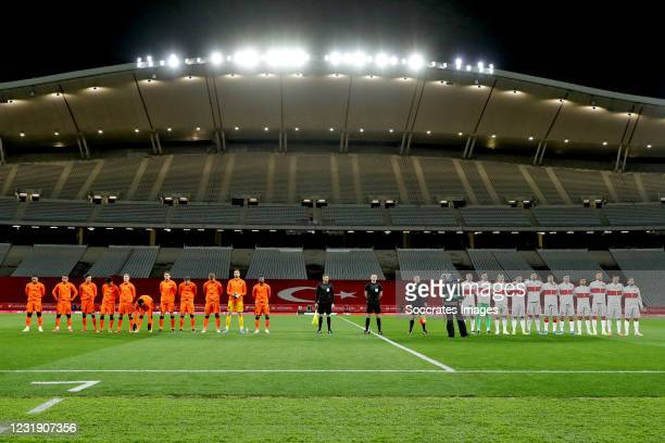 Line up of Holland and Turkey during the World Cup Qualifier match between Turkey v Holland at the Ataturk Olympic Stadium on March 24, 2021 in...