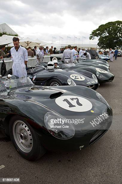 Line up of Lister Jaguars including the1958 ListerJaguar 'flat iron' of Steve Boultbee Brooks in the Assembly Area prior to the Sussex Trophy race at...