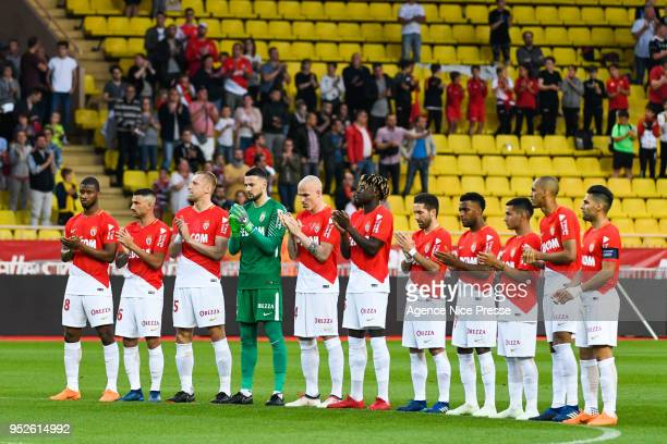 Line up of Monaco during the Ligue 1 match between AS Monaco and Amiens SC at Stade Louis II on April 28 2018 in Monaco