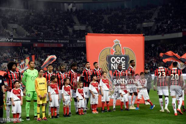 Line up of Monaco during the Ligue 1 match between Nice and Monaco on May 24, 2019 in Nice, France.