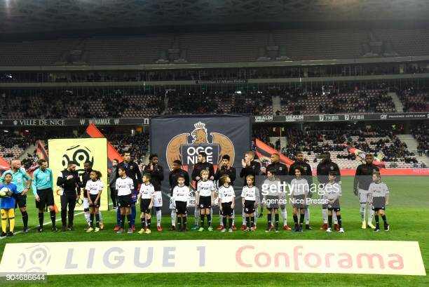 Line up of Nice during the Ligue 1 match between Nice and Amiens at Allianz Riviera Stadium on January 13 2018 in Nice France
