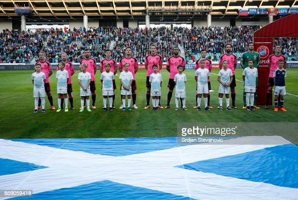 Line up of Scotland team prior to the FIFA 2018 World Cup Qualifier match between Slovenia and Scotland at stadium Stozice on October 08 2017 in...