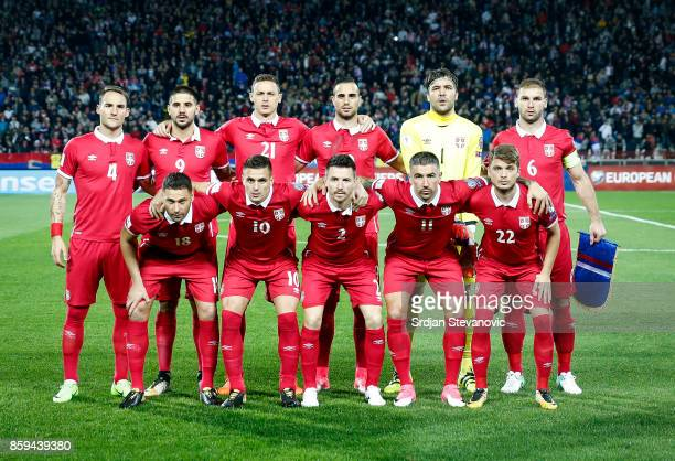 Line up of Serbia national football team pose for a photo prior to the FIFA 2018 World Cup Qualifier between Serbia and Georgia at stadium Rajko...