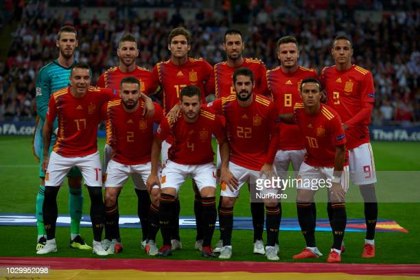 Line up of Spain during the UEFA Nations League football match between England and Spain at Wembley Stadium in London on September 8 2018