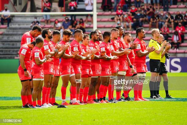 Line up of Stade Toulousain during the QuarterFinal Champions Cup match between Toulouse and Ulster at Stade Ernest Wallon on September 20 2020 in...