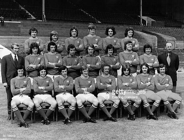 A line up of the Bristol City Football Team from left to right Back Row Gerry Sweeney Joe Durrell Martin Rogers Paul Crowley Clive Whitehead Don...