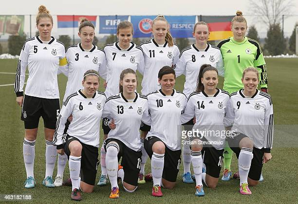 Line up of the Germany Under19 team from left Rebecca Knaak Felicitas Rauch Anna Gasper Lea Schuller Jenny Gaugigl and goalkeeper Carina Schluter...