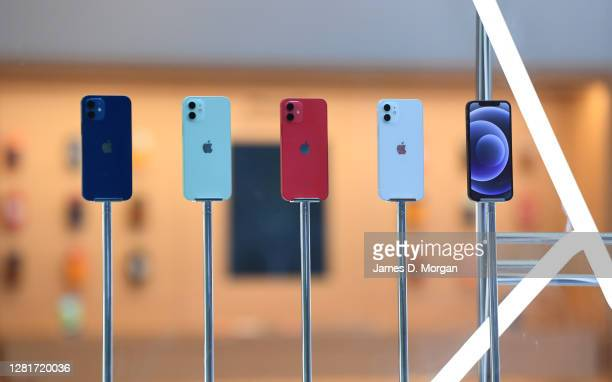 Line up of the new Apple iPhone 12 inside the window of the Apple Store in George Street on October 23, 2020 in Sydney, Australia. The iPhone 12...
