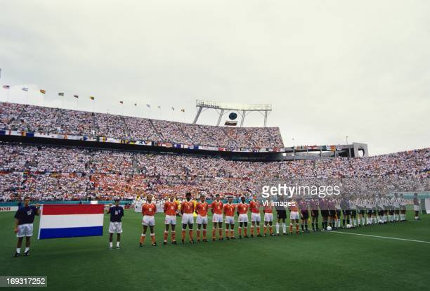 Line up of the teams during the FIFA World Cup 1994 round of 16 match between Netherlands and Ireland om July 4 1994 at the Citrus Bowl stadium in...