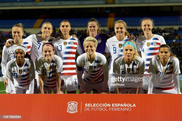 Line up of USA Emily Sonnett Abby Dahlkemper Alex Morgan Alyssa NaeherLindsey Horan Becky Sauerbrunn Crystal Dunn Rose Lavelle Megan Rapinoe Julie...