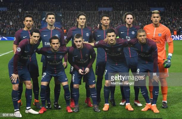 PSG line up prior to the UEFA Champions League Round of 16 Second Leg match between Paris SaintGermain and Real Madrid at Parc des Princes on March 6...