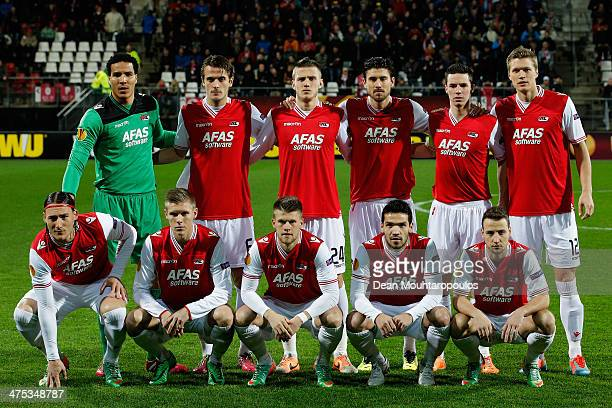 AZ line up prior to the UEFA Europa League Round of 32 match between AZ Alkmaar and FC Slovan Liberec at the AZ Stadium on February 27 2014 in...