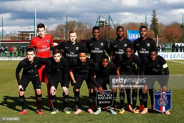 PSG line up prior to the UEFA Youth League Quarterfinal match between Paris Saint Germain and AS Roma at Stade GeorgesLefevre on March 9 2016 in...