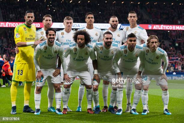 Line up Real Madrid during the match between Atletico de Madrid and Real Madrid week 12 of La Liga at Wanda Metropolitano stadium Madrid SPAIN 18th...