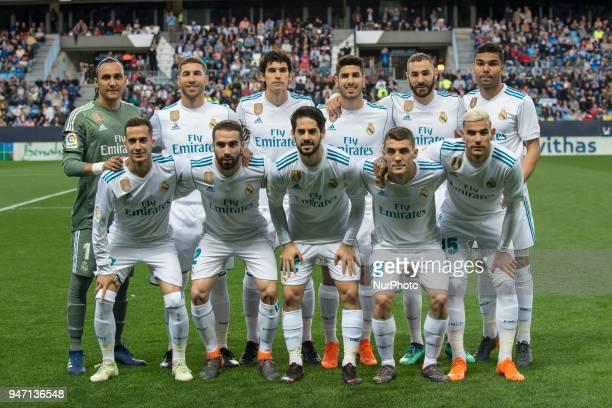 Line up Real Madrid during the match between Malaga CF against Real Madrid week 32 of La Liga 2017/18 in Rosaleda stadium Malaga SPAIN 15th April of...