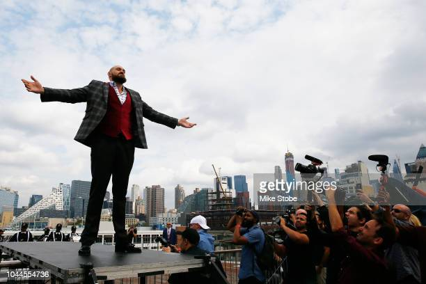 Lineal Heavyweight champion Tyson Fury is introduced prior to the New York Press Conference at Intrepid SeaAirSpace Museum on October 2 2018 in New...